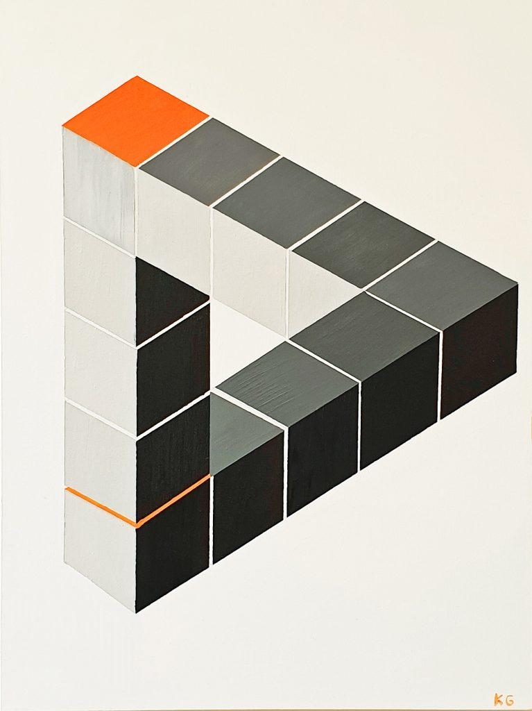 Zeitgenössische Kunst Stuttgart Karlo Grados Triángulo flotante contemporary art Ölmalerei