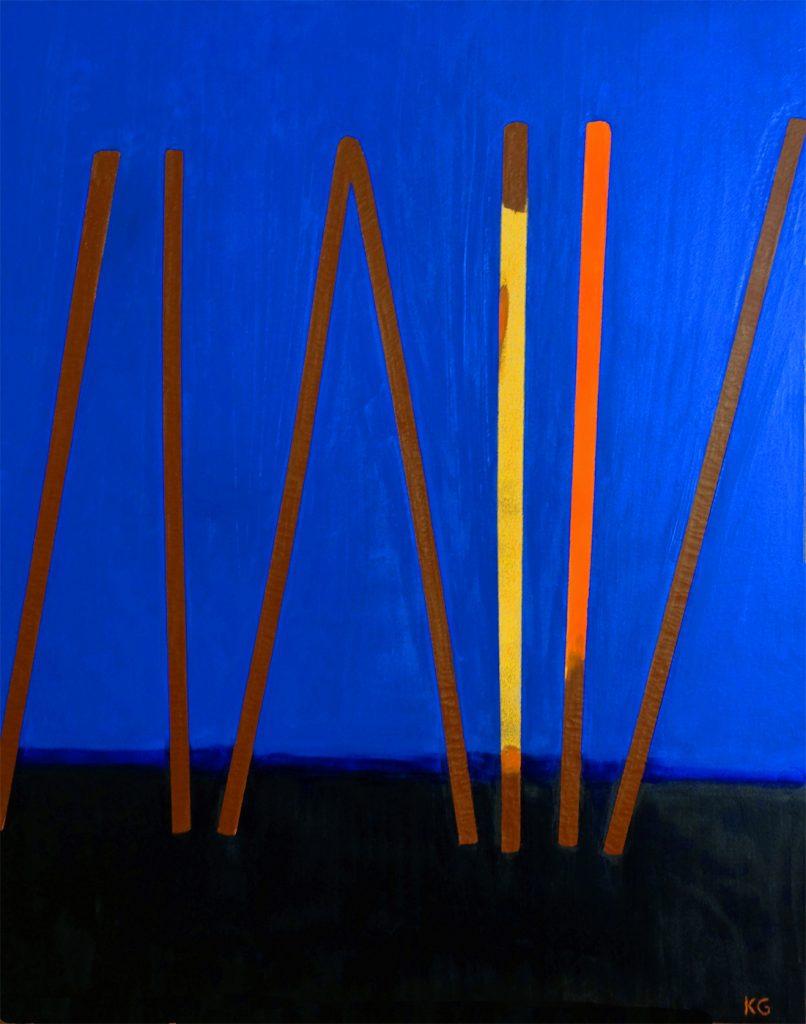 Zeitgenössische Kunst Stuttgart  Karlo Grados Ausstellung moderne Kunst Galerie Abstrakt sleeping blue