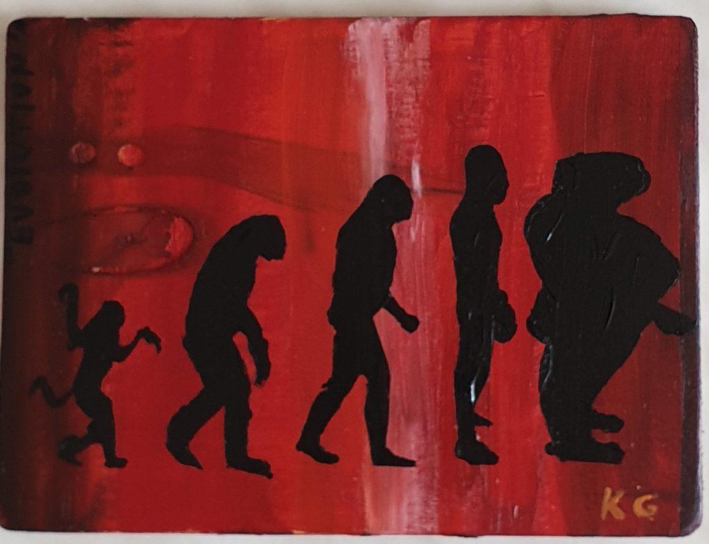 Evolution Zeitgenössische Kunst Stuttgart Germany Karlo Grados Gesellschaftskritik evolution der Menschheit homo sapiens