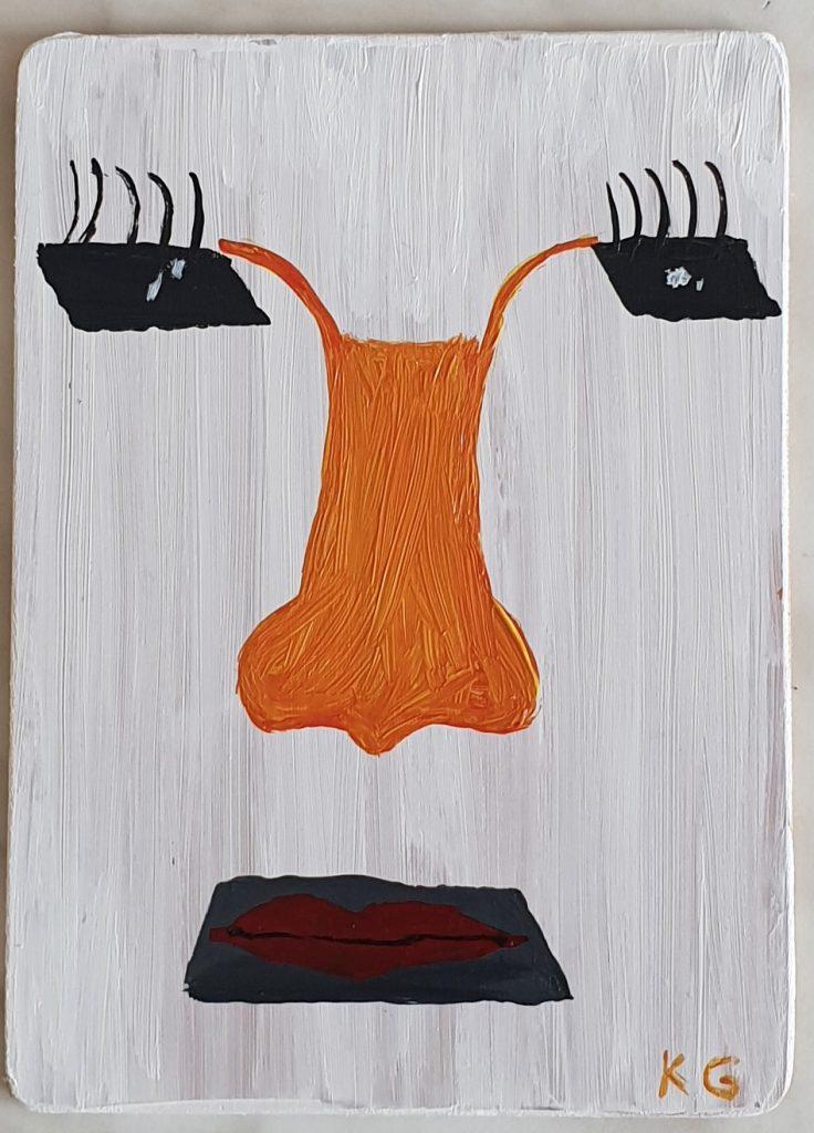 Zeitgenössische Kunst Stuttgart Karlo Grados Galerie cabeza cuadrada Acryl auf Holz