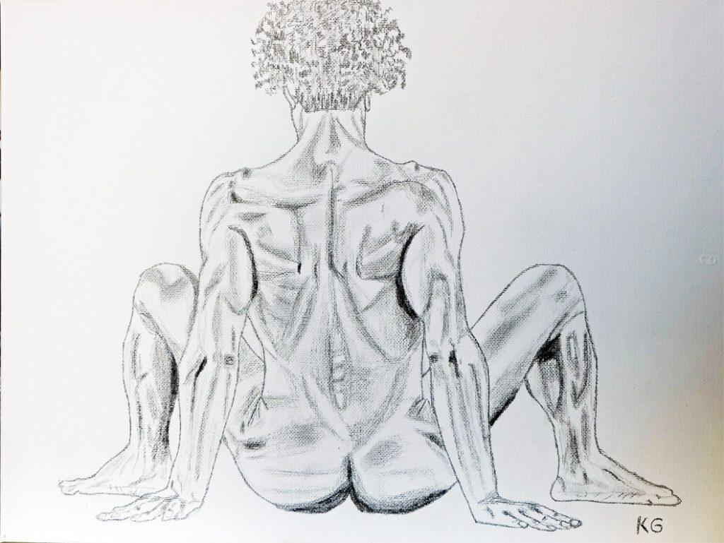 Zeitgenössische Kunst Stuttgart Karlo Grados Ausstellung moderne Kunst Selbst Portrait nackt von hinten