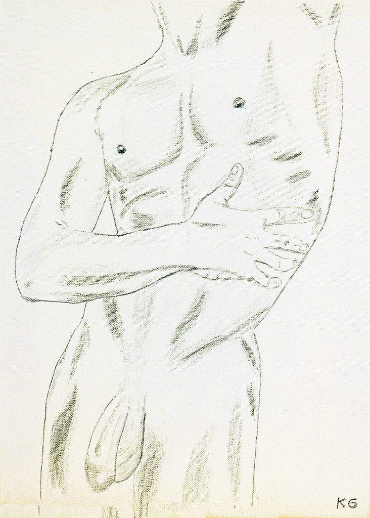 Zeitgenössische Kunst Stuttgart Karlo Grados Ausstellung moderne Kunst nackter Mann Penis