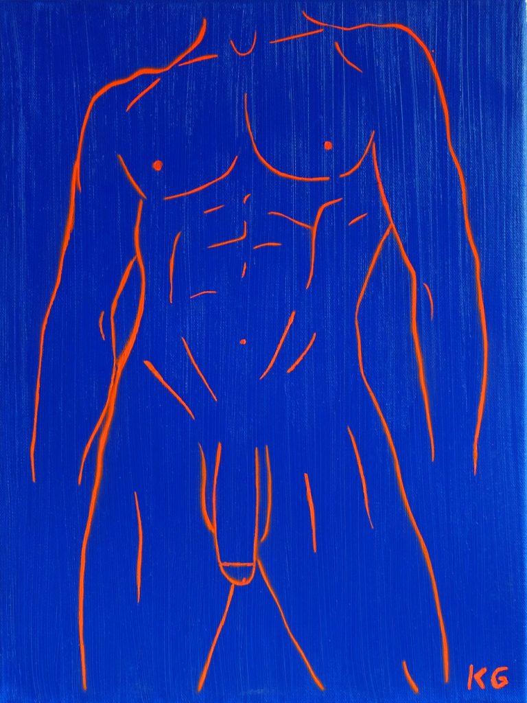 Zeitgenössische Kunst Stuttgart Karlo Grados Galerie aktmalerei Öl nackter Mann Penis