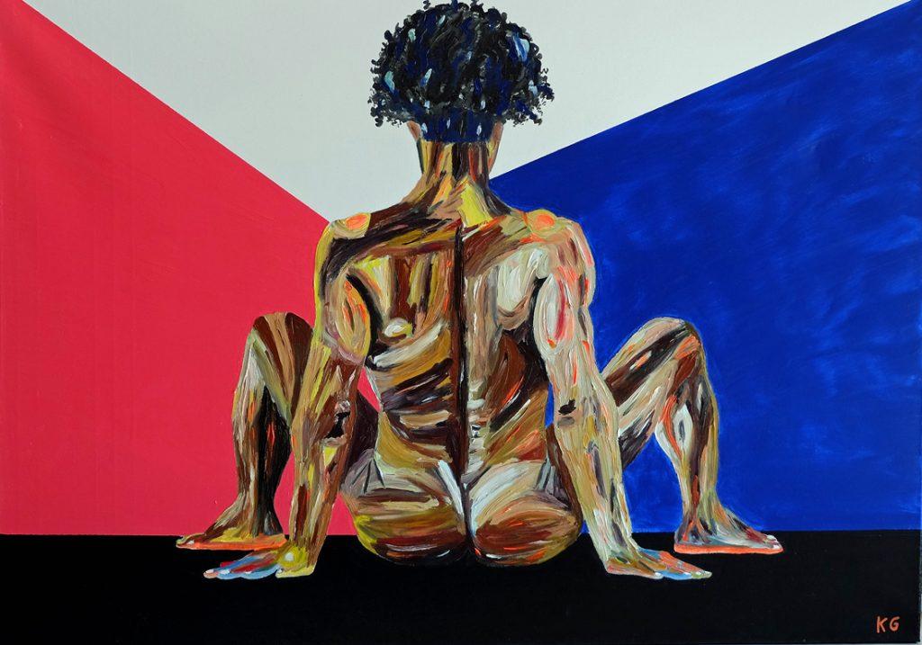 heritage Zeitgenössische Kunst Stuttgart Karlo Grados Galerie aktmalerei Öl nackter Mann Selbst Portrait
