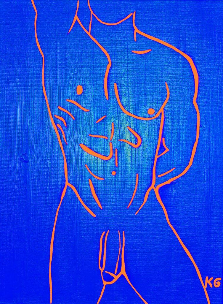 Zeitgenössische Kunst Stuttgart Karlo Grados Stuttgart contemporary art Ölmalerei Sexy Mann nackt